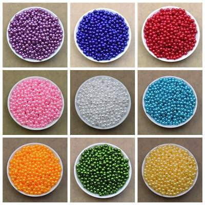 Plastic Beads (100PCS 6mm 8mm 20 Colors Pearl Spacer Beads Craft ABS Plastic Loose Beads)