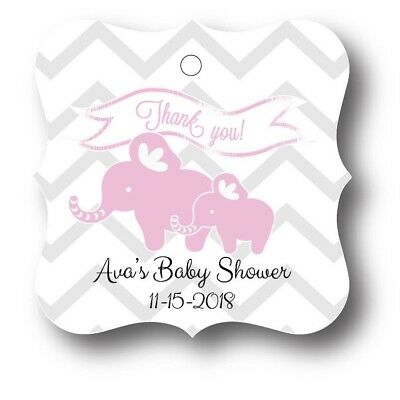 24 Pink Elephant Baby Girl Shower Favor Tag Personalized (Girl Elephant Baby Shower)