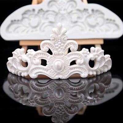 Vintage Relief Crown Silicone Fondant Mold Cake Border Chocolate Baking Mould