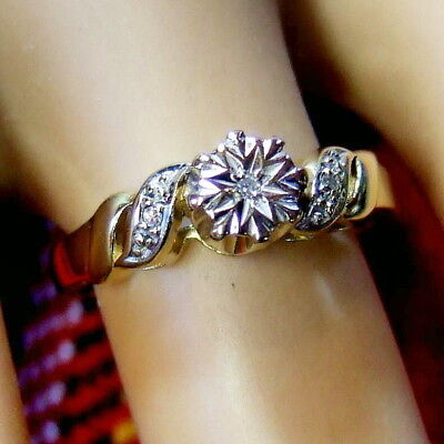 9 ct GOLD second hand diamond ring