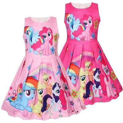 Girls Skater Dress Kids My Little Pony  Print Casual Party Birthday Dresses L2