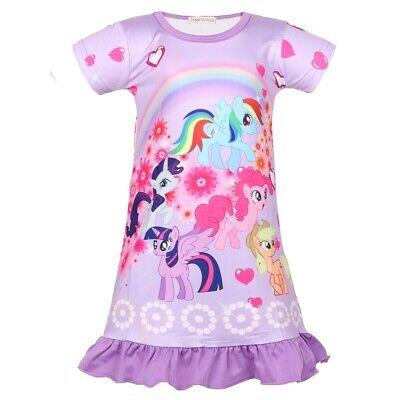 New Girls Kids My Little Pony Rainbow Sleepwear Nightgown Dress Pyjamas ZG9 - Little Kid Pajamas
