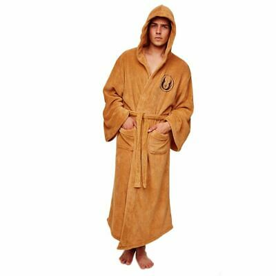 Star Wars Jedi Knight Robe Dressing Gown Bathrobe - Adult Hooded Cosplay OS Tan