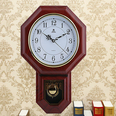 HOT Antique Wall Clock with Pendulum Roman Numerals Chiming Classic Wood FG2