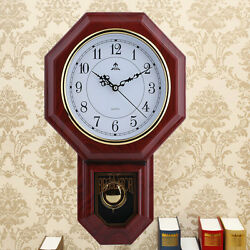 Antique Vintage Wooden Retro Style Vintage Wood Wall Clock with Pendulum NEW BP