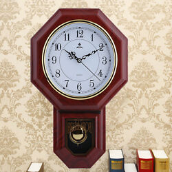 Antique Vintage Wooden Retro Style Vintage Wood Wall Clock with Pendulum EK