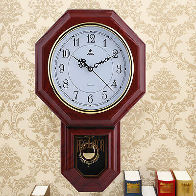Hot Antique Wall Clock With Pendulum Roman Numerals Chiming Clic Wood Fg2
