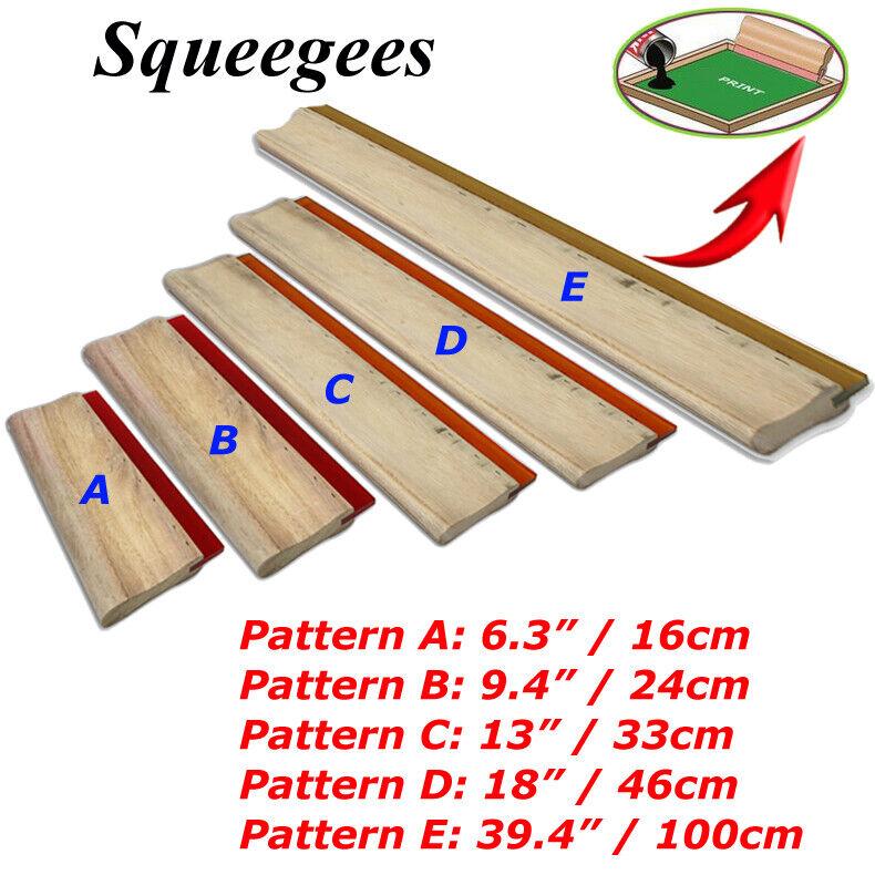 """Variety Silk Screen Printing Squeegee Wood Scraper Manual Tool 6.3"""" 9.4"""" 13"""" 18"""""""
