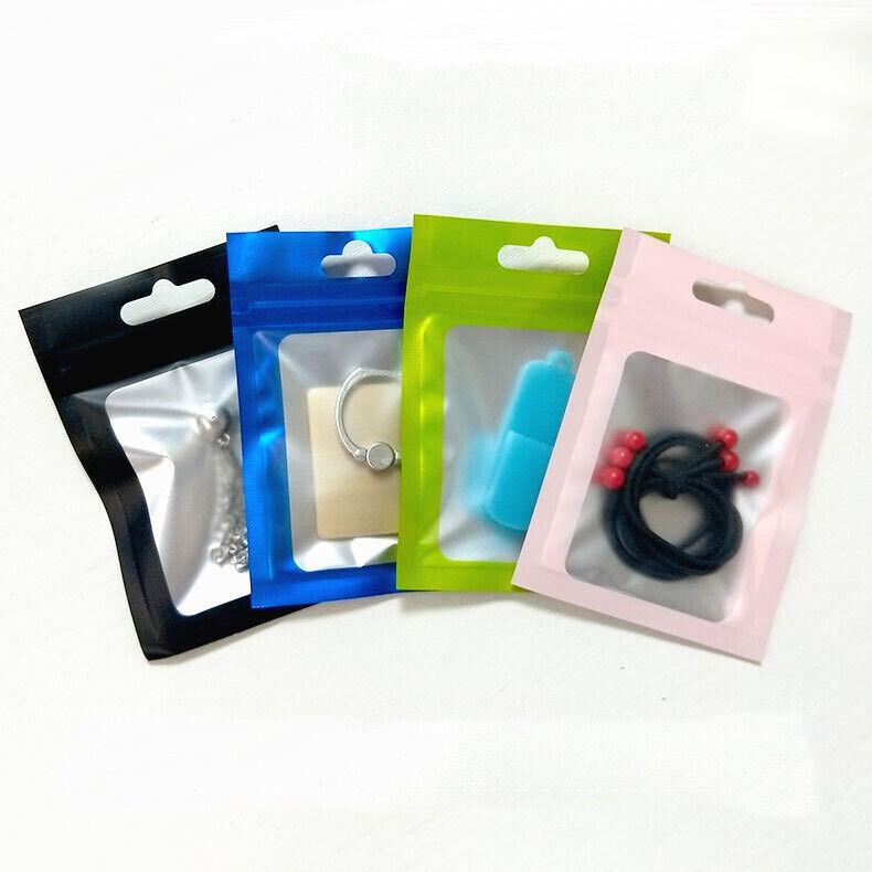Front Clear Back Matte Black Aluminum Foil /& Plastic Zip Lock Bag Storage Pouch
