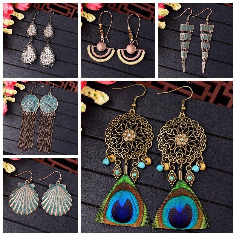 Women Bohemian Boho Style Peacock Feather Multi-style Hook Drop Dangle Earrings