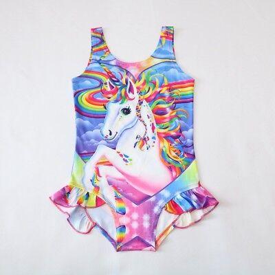 Swimsuite Girls (US STOCK  Girls Unicorn Rainbow Swimsuit Swimwear Bathing swimming Bikini)