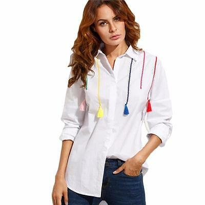 Fashion Women's Lady Loose Long Sleeve Casual Blouse Shirt Tops Blouse S US