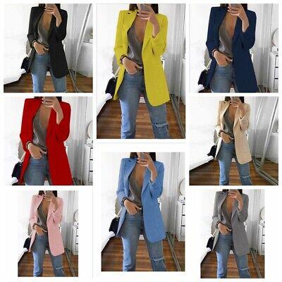 Women Slim Casual Blazer Jacket Top Outwear Long Sleeve Career Formal Long - Career Jacket