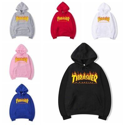 2020 Men & Women Thrasher Flame Pullover Hoodie Sweaters Skateboard Sweatshirts