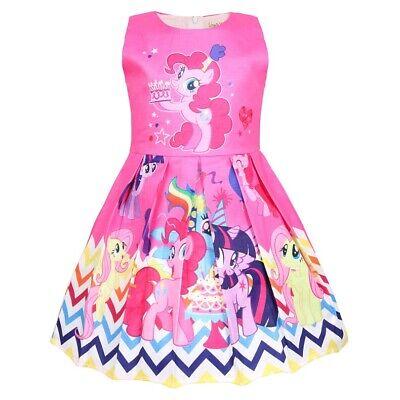 Girls Skater Dress Kids My Little Pony Print Casual Party Birthday Dresses O50