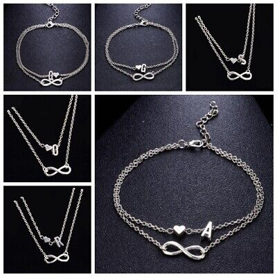 26 Letter Silver Plated Bracelet Anklet With Initial Charm Design-Gift Jewellery