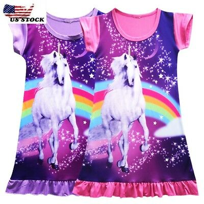 Girls Unicorn Star Rainbow Print Pajamas Nightgown Girl Princess Dress O10