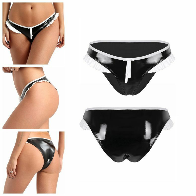 Women/'s Underwear Bikini Briefs with 2 Metal Rings Patent Leather Shorts Hotpant