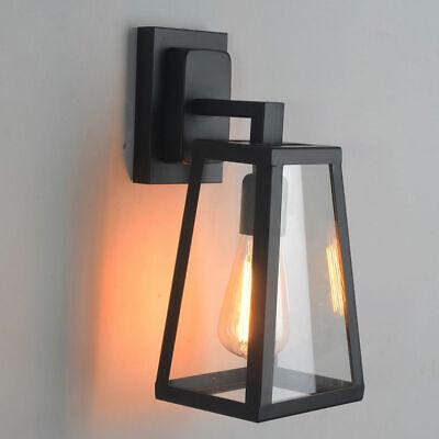 Antique Matte Black Lantern Outdoor Wall Sconce Fixture with Single Light (Black Single Light Sconce)