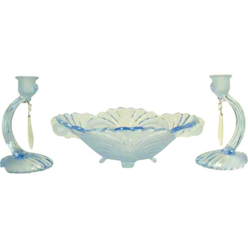 Cambridge Elegant Glassware - Three Piece Caprice Console Set - 1930