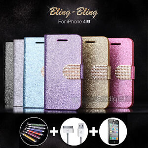 Bling-Bling-Glossy-Gilter-Wallet-Flip-Case-Cover-For-iPhone-4-4S