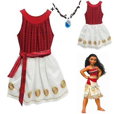 US Stock Lovely Girls Moana  Party Holiday Birthday Dress with Necklace Costume ](Holiday Party Costumes)