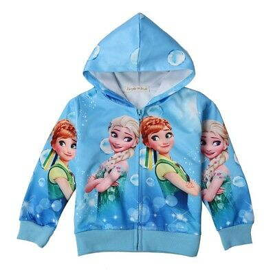 New Girls Pink Blue Frozen Anna Elsa Pocket Zip-Up Hoodie Jacket Sweatshirt  L20