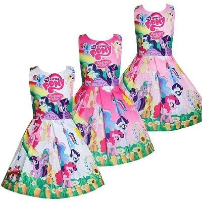 Girls Skater Dress Kids My Little Pony Print  Casual Party Birthday Dresses O52b - Little Girls Birthday Party