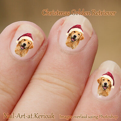 GOLDEN RETRIEVER Christmas Santa Hat  24 Dog Nail Art Stickers, decals, gift