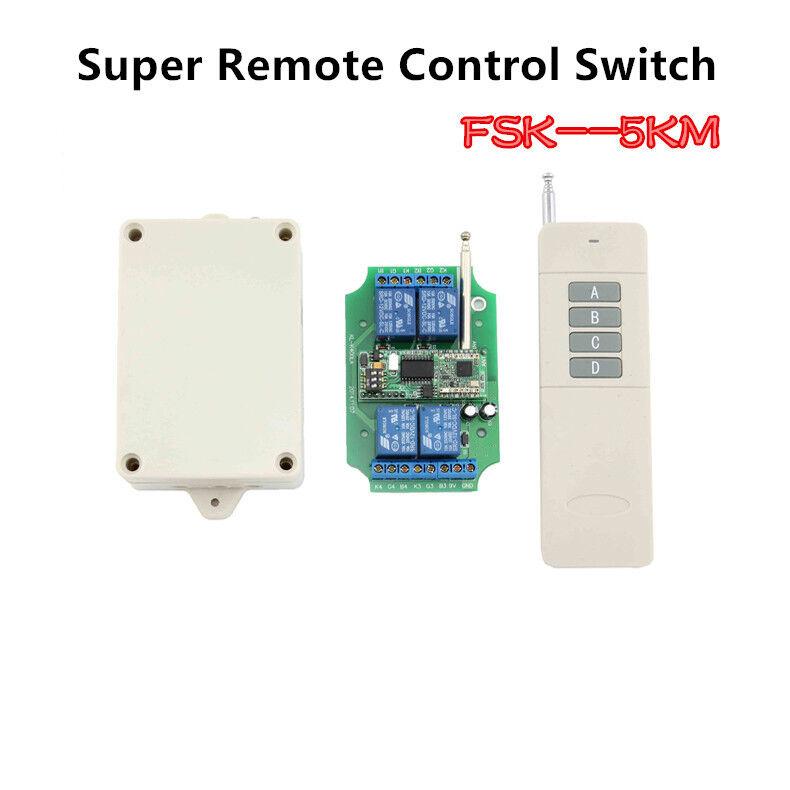 4CH FSK+LORA DC 12V 5KM 2-Way Wireless Controller Remote Control Relay Switch