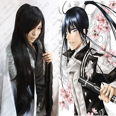 161 D Gray Man Yuu Kanda Long Black Cosplay Wig 100cm Clip Ponytail for sale  China