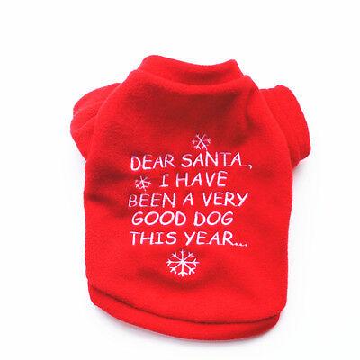 Weihnachten Weste (Hundepulli Welpe Shirt Weste Pullover Weihnachten bedruckt Fleece rot S-M *037)