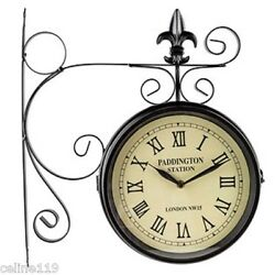 Paddington Station Clock Black Dual Face Fleur De Lis Accent Vintage Style Paris