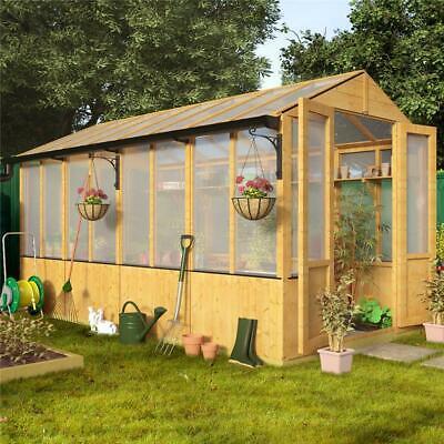 Lincoln Wooden Garden Greenhouse Polycarbonate Windows Double Door Apex Roof