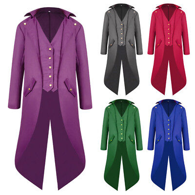 Halloween Fashion Men's Long Coat Punk Retro Tailcoat Uniform Dress Suit Tuxedo - Punk Suit