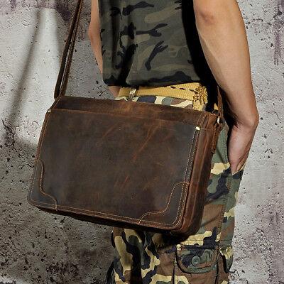"""Le'aokuu Men Crazy Horse Leather Shoulder HandBag Vintage Messenger 14"""" Bag"""