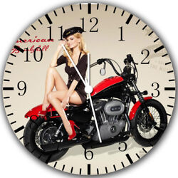 American Girl Motorcycle Frameless Borderless Wall Clock Nice Gifts or Decor Y01
