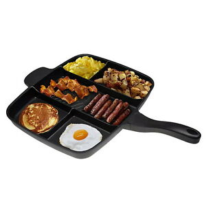 Non-Stick 5 In 1 Divided Grill Fry Pan Fryer Oven Meal Skillet 15