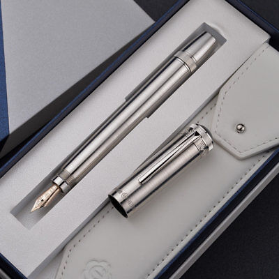 Hero H718 Piston Sliver Fountain Pen with Retractable 10K Gold Nib and Gift Box