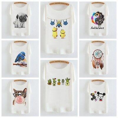 Summer Women Short Batwing Sleeve Tee Tops Animal Print Loose Cartoon T-Shirt ()