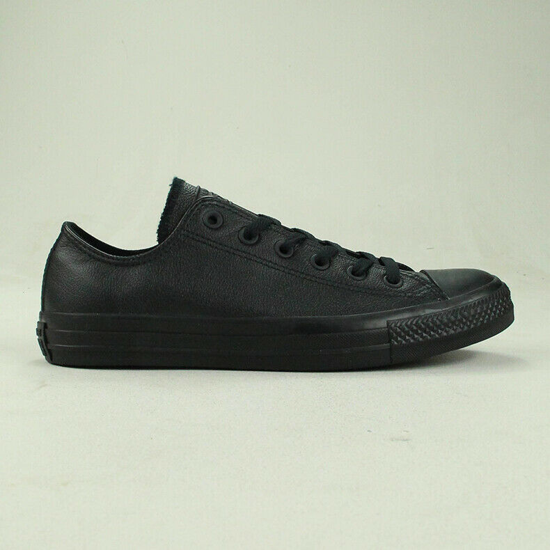 Details about Converse All Star Ox Leather in Black Mono Trainers UK Size 3,4,5,6,7,8,9,10,11