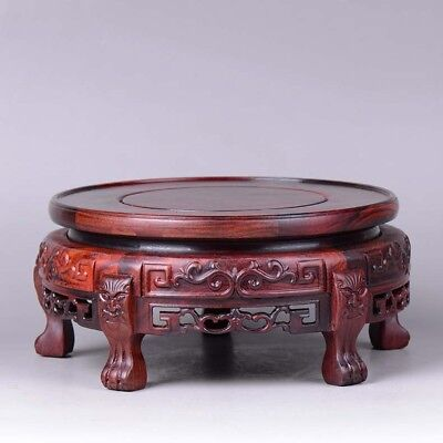 Rosewood Base Round Pedestal Display stand For vase teapot flowerpot 8 inch