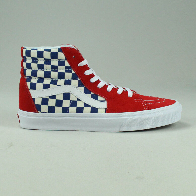 Details about Vans BMX Checkerboard Sk8 Hi Shoes Trainers in BlueRed in UK Size 6,7,8,9,10