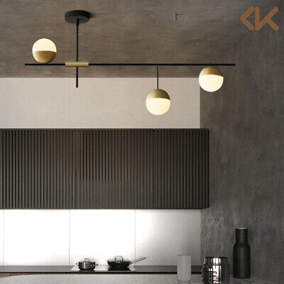 Modern 3 Light Linear Ceiling Light Glass Globe Semi Flush Mount Pendant Light Glass Bar 3 Light Pendant