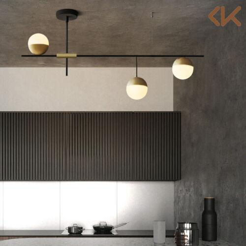 modern 3 light linear ceiling light glass