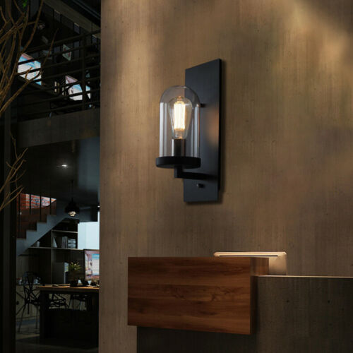 Retro Industrial Cylinder Glass Shade Light Wall Sconce Blac