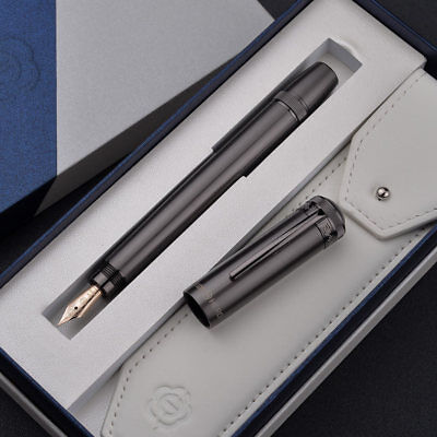 Hero H718 Piston Gray Fountain Pen with Retractable 10K Gold Nib and Gift Box