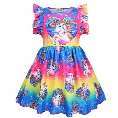 US STOCK Girls Casual Heart Print Holiday Party Birthday Unicorn Fancy Dress L15 (Fancy Christmas Dresses)