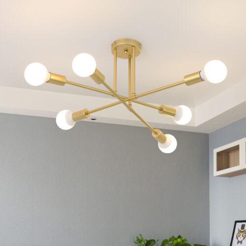 Modern 6 Lights Golden Sputnik Chandelier Semi Flush Mount C