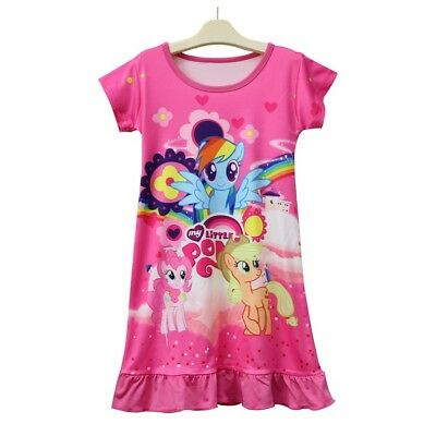 Mlp Pajamas (Girls Kids My Little Pony Rainbow Sleepwear Nightgown Dress Pyjamas)